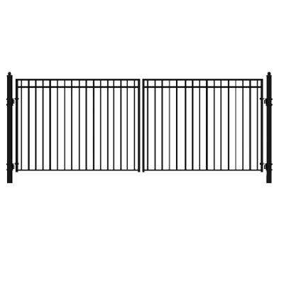 Madrid 18 ft  x 6 ft  Black Steel Dual Driveway Fence Gate