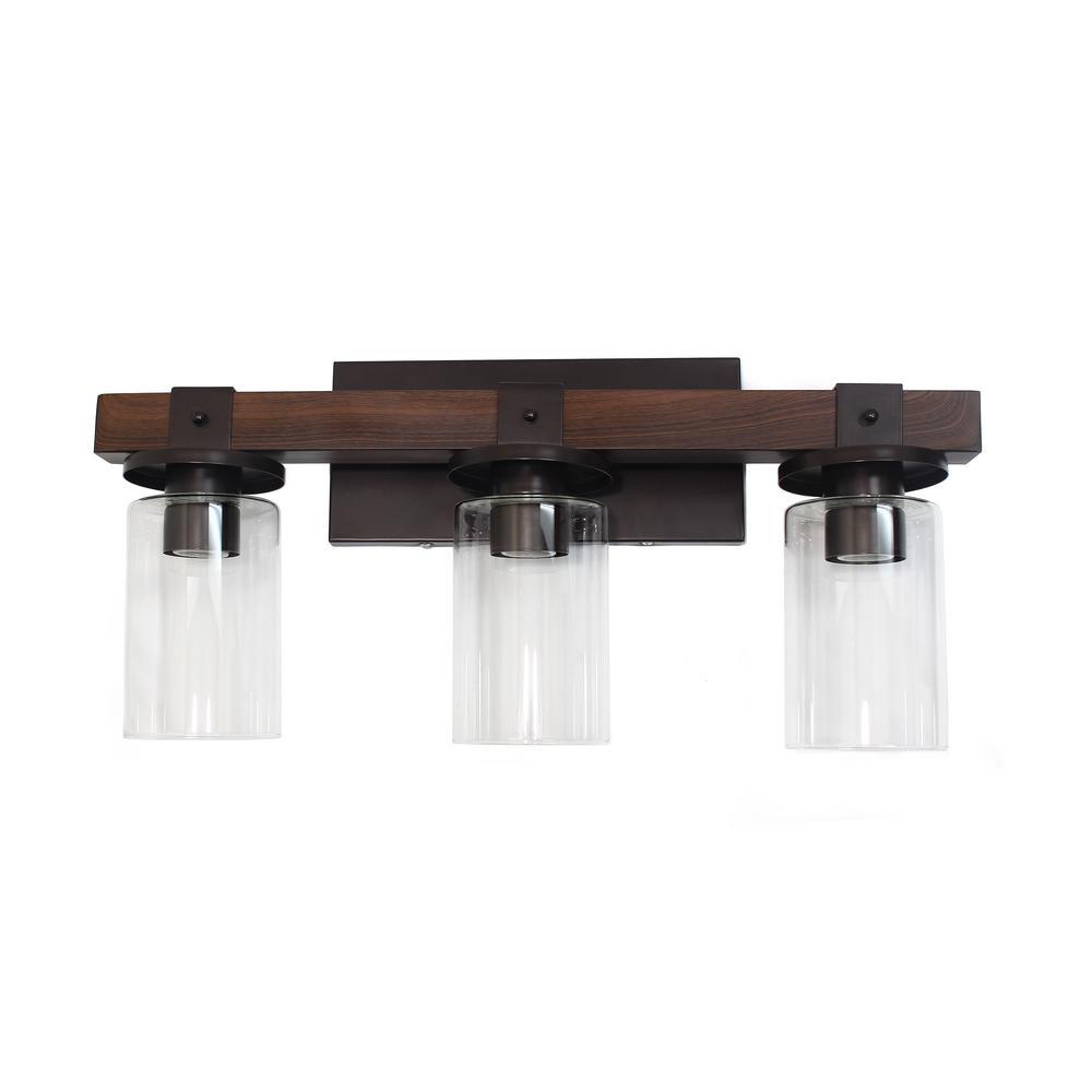 3-Light Industrial Rustic Lantern Restored Wood Look Bath Vanity Light, Brown