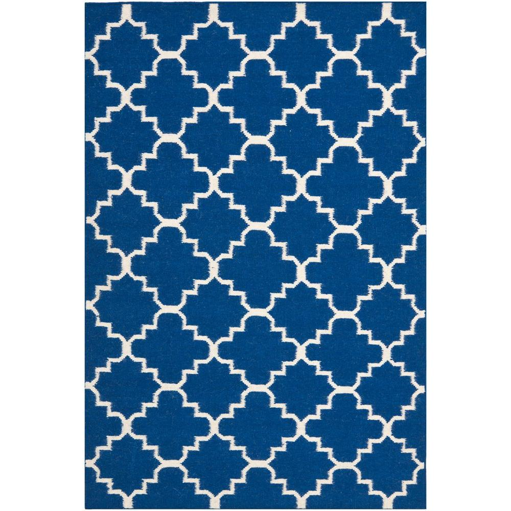 Dhurries Dark Blue 3 ft. x 5 ft. Area Rug