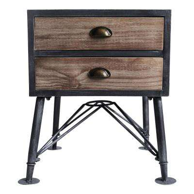 Adrian Industrial Grey 2-Drawer End Table
