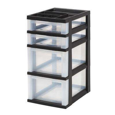 12.05 in. x 24.38 in. Black 4-Drawer Storage Cart with Organizer Top