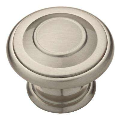 Harmon 1-3/8 in. (35mm) Satin Nickel Round Cabinet Knob (10-Pack)