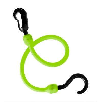 18 in. Polyurethane Fixed End Bungee Cord with Molded Nylon Hook and Clip in Safety Green