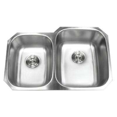 Undermount 18-Gauge Stainless Steel 32 in. x 20-3/4 in. x 9 in. Deep 40/60 Double Bowl Kitchen Sink with Brushed Finish