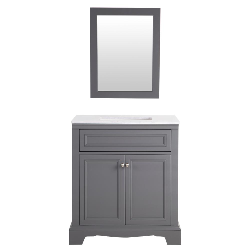 Home Decorators Collection Windsor Park 31.5 In. W Vanity In Graphite With  Stone Effects Vanity