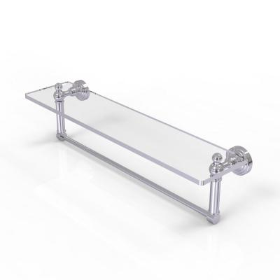 Waverly Place Collection 22 in. Glass Vanity Shelf with Integrated Towel Bar in Polished Chrome
