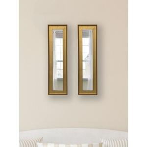 13.5 inch x 37.5 inch Vintage Gold Vanity Mirror (Set of 2-Panels) by