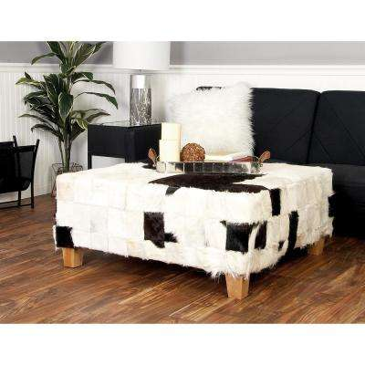 18 in. H x 39 in. W Black and White Patch Furry Hide Square Ottoman