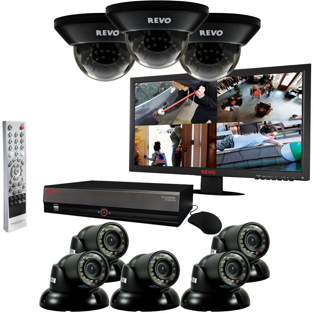 Revo 16 CH 3TB DVR Surveillance System with (8) 700TVL 100 ft. Night Vision Cameras and 23 in. Monitor-DISCONTINUED