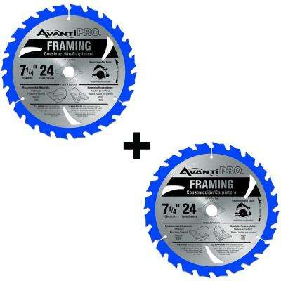 7-1/4 in. x 24-Tooth Carbide Framing Saw Blade (2-Pack)
