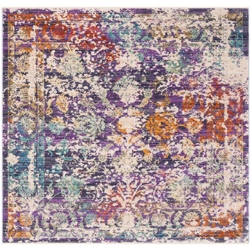 Sutton Lavender/Ivory 6 ft. x 6 ft. Square Area Rug