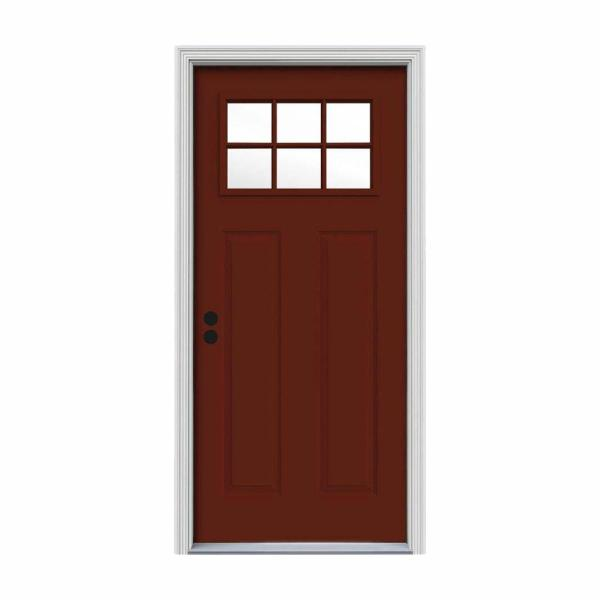 30 in. x 80 in. 6 Lite Craftsman Mesa Red Painted Steel Prehung Right-Hand Inswing Front Door w/Brickmould