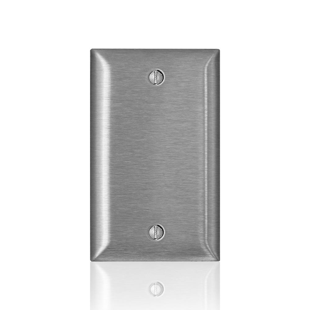 Leviton 1-Gang C-Series Blank Wallplate, Standard Size, Magnetic Stainless Steel