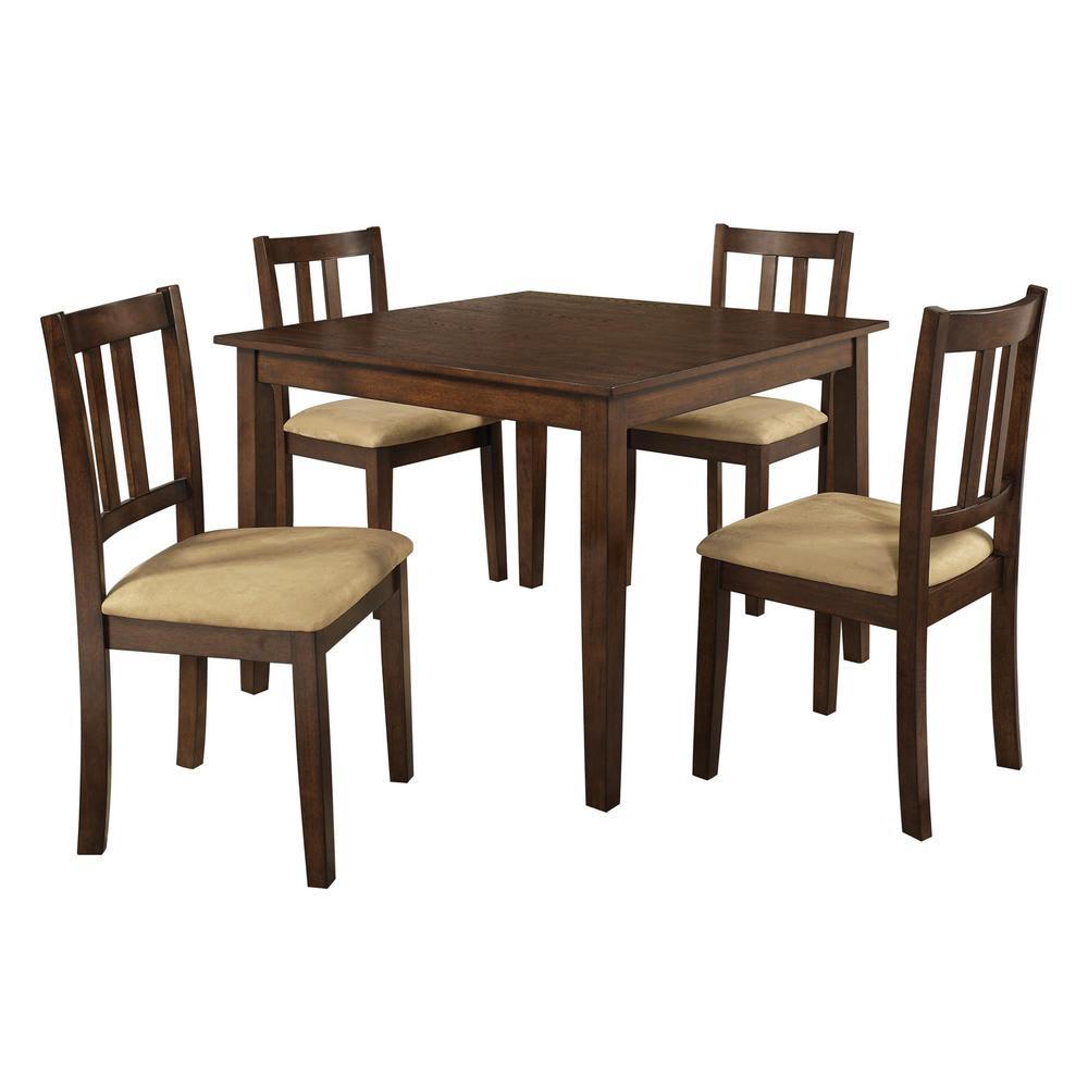 Redmond 5-Piece Espresso/Beige Dining Set