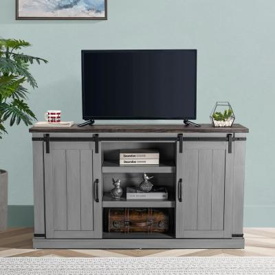 54 in. Gray Engineered Wood TV Stand Fits TVs Up to 60 in. with Storage Doors