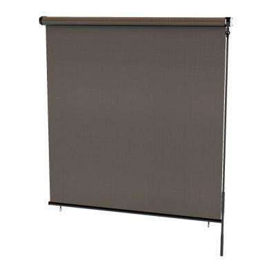 Coconut Brown Cordless Light Filtering Weatherproof PVC Horizontal Roll-Up Shade 48 in. W x 72 in. L