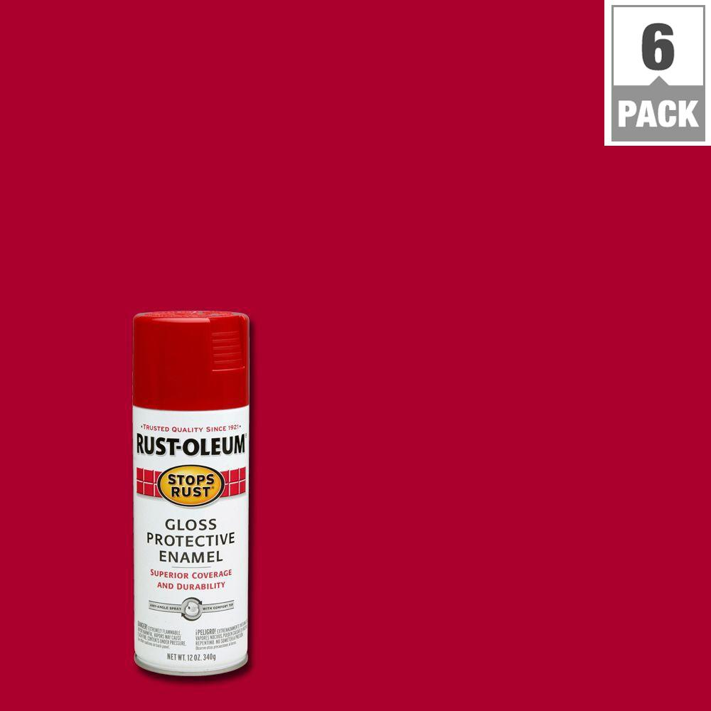 12 oz. Gloss Carnival Red Protective Enamel Spray Paint (6-Pack)