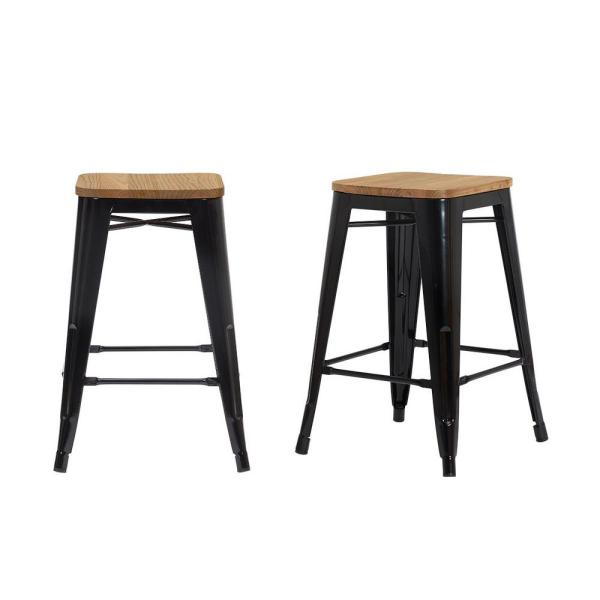 Finwick Black Metal Backless Counter Stool with Wood Seat (Set of 2) (16.54 in. W x 23.62 in. H)