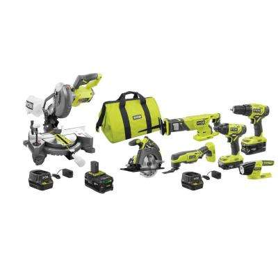 18-Volt ONE+ Lithium-Ion Cordless 6-Tool Combo Kit with Bonus Compound Miter Saw, 4.0 Ah Lithium-Ion Battery and Charger
