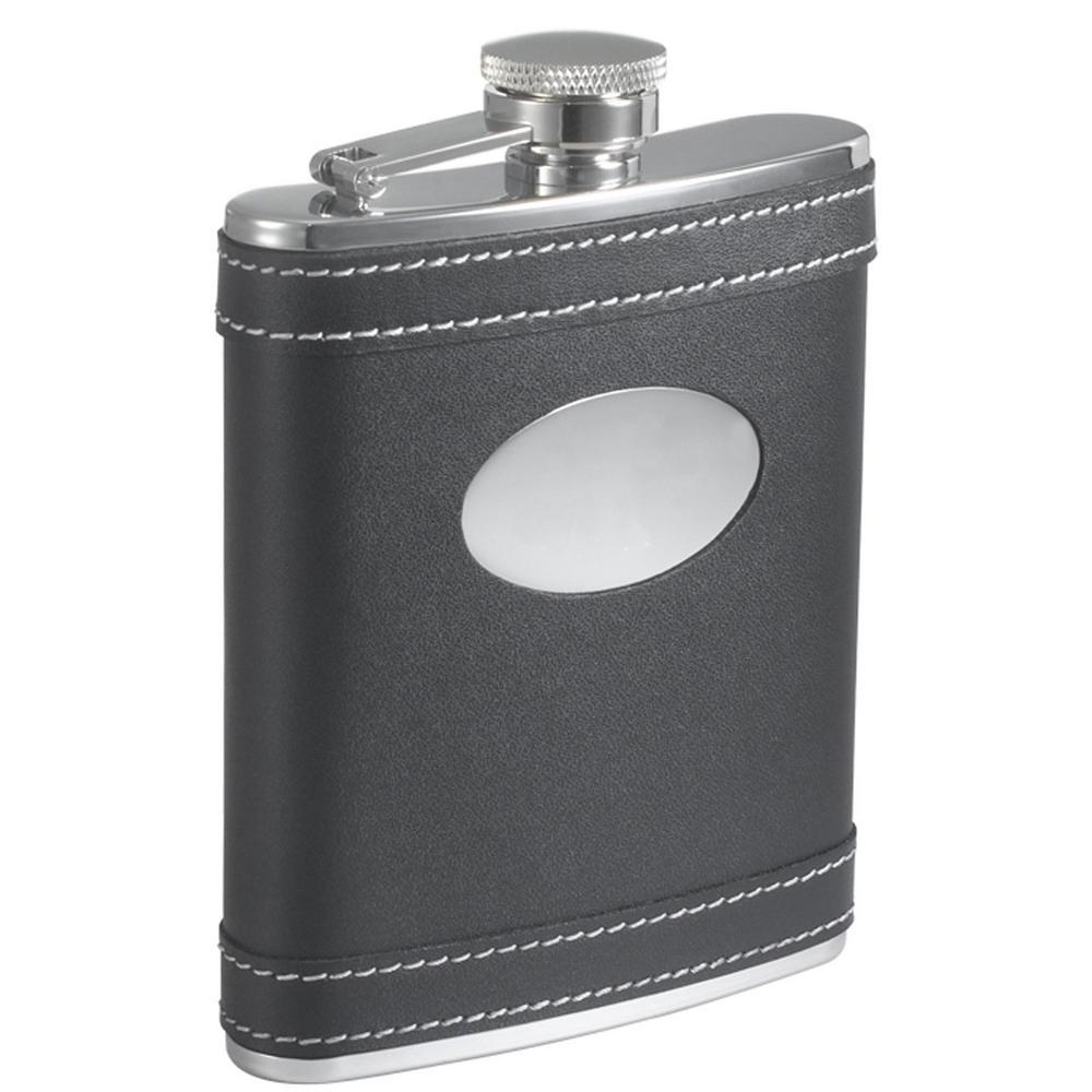 Marlon Black Leather Liquor Flask
