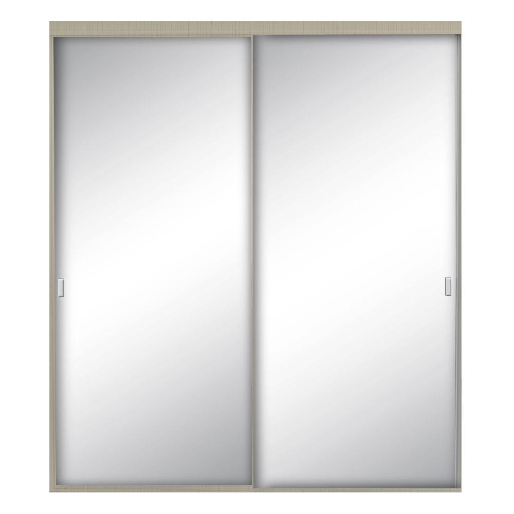 Contractors Wardrobe 60 In X 96 In Style Lite Brushed Nickel Aluminum Framed Mirror Interior Sliding Door Sty 6096bnn2x The Home Depot