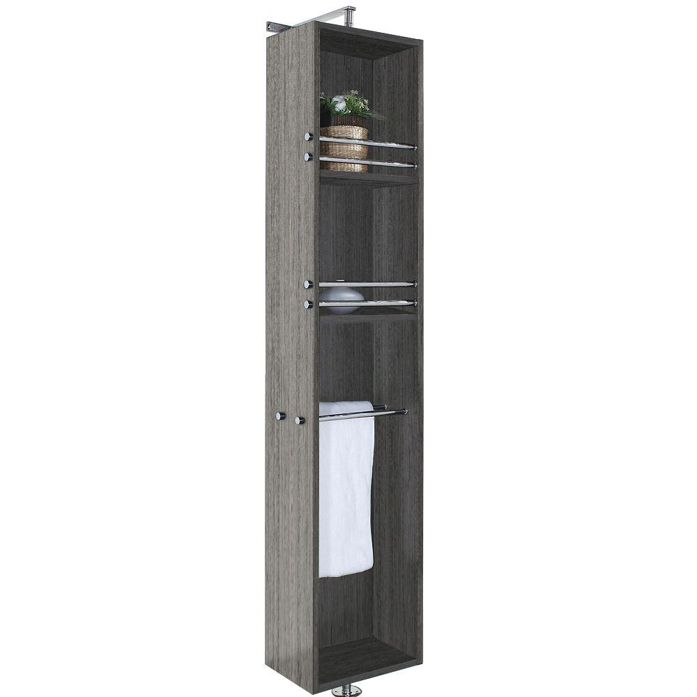 Wyndham Collection April 13-3/4 in. W x 79-1/2 in. H x 15-1/2 in. D Bathroom Linen Storage Cabinet in Grey Oak