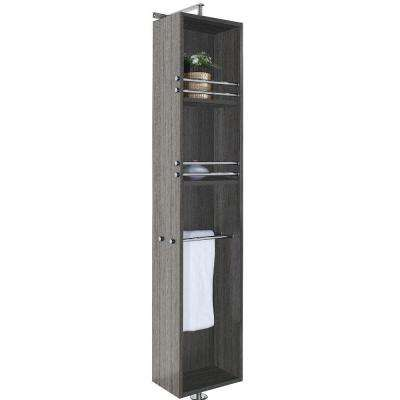 April 13-3/4 in. W x 79-1/2 in. H x 15-1/2 in. D Bathroom Linen Storage Cabinet in Grey Oak