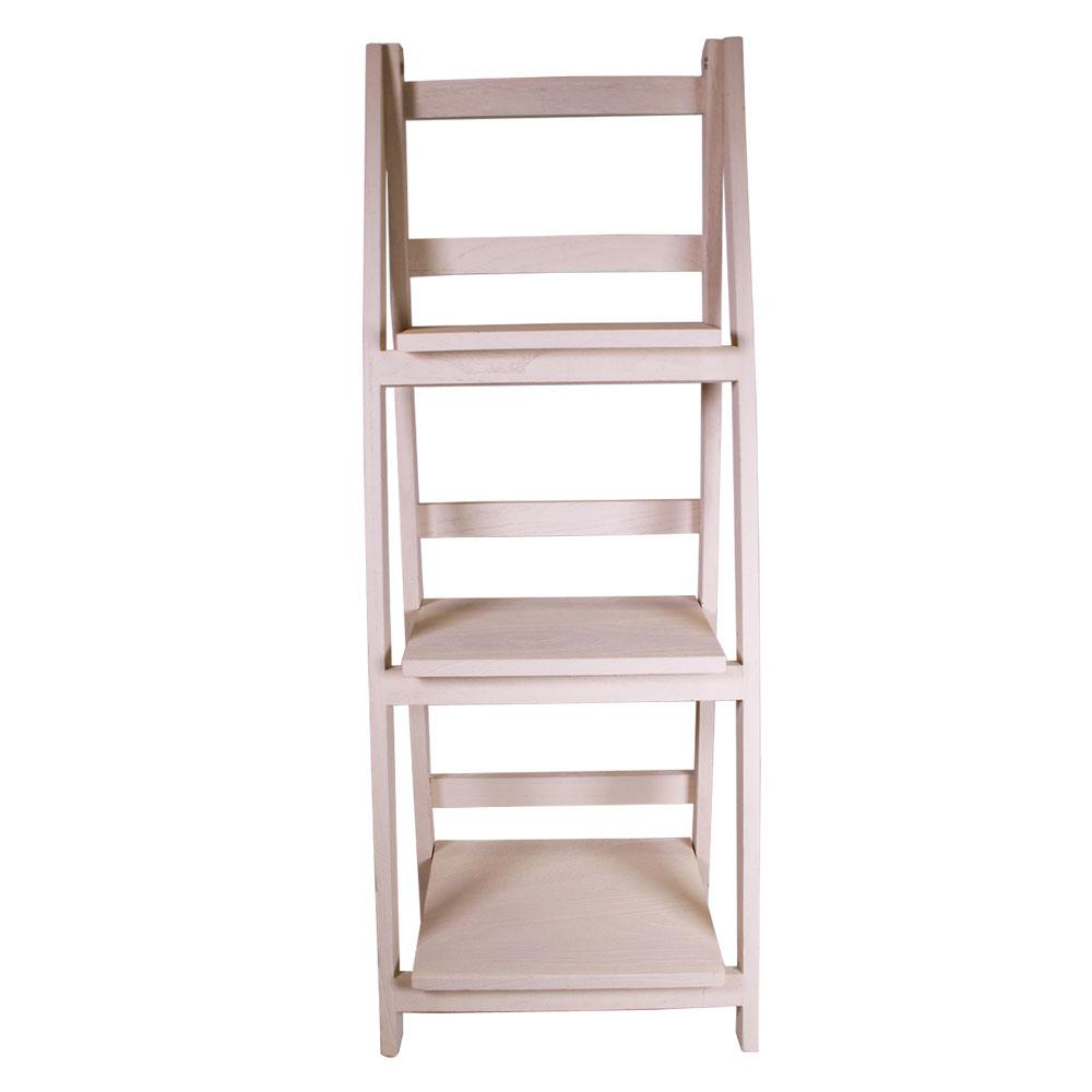 Jia Home 13 In X 36 In Wood Folding 3 Tier Ladder