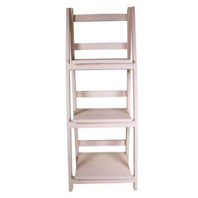 13 in. x 36 in. Cream Wood Folding 3 Tier Ladder Display Shelf