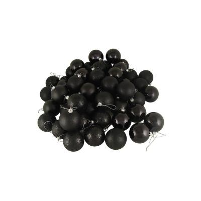 2.5 in. (60 mm) Shatterproof Jet Black 4-Finish Christmas Ball Ornaments (60-Count)