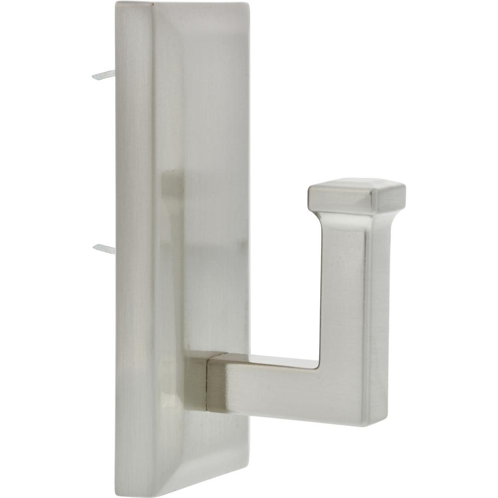 High & Mighty 7-3/8 in. Satin Nickel Decorative Rectangular Wall Hook (1-Pack)