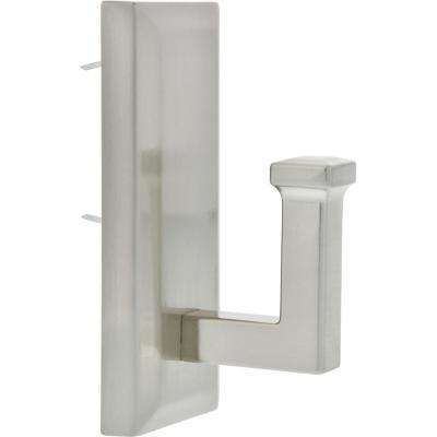 7-3/8 in. Satin Nickel Decorative Rectangular Wall Hook (1-Pack)