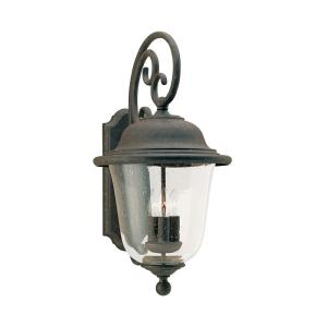 Trafalgar 3-Light Oxidized Bronze Outdoor 23.5 in. Wall Lantern Sconce with Dimmable Candelabra LED Bulb