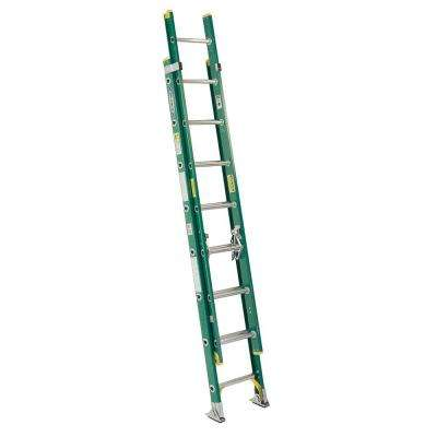 16 ft. Fiberglass D-Rung Extension Ladder with 225 lb. Load Capacity Type II Duty Rating