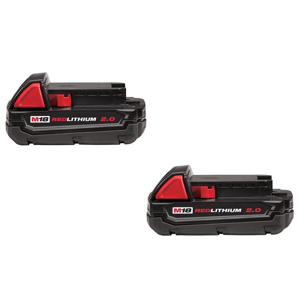 Milwaukee M18 18-Volt Lithium-Ion Compact Battery Pack 2.0Ah (2-Pack)