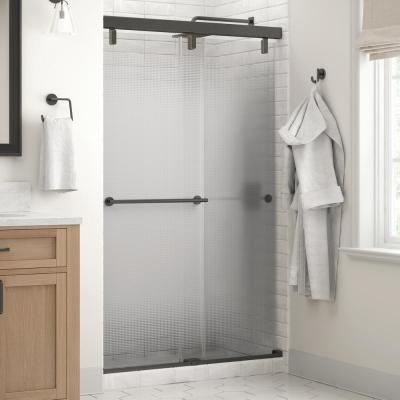 Everly 48 in. x 71-1/2 in. Mod Semi-Frameless Sliding Shower Door in Bronze and 1/4 in. (6mm) Droplet Glass