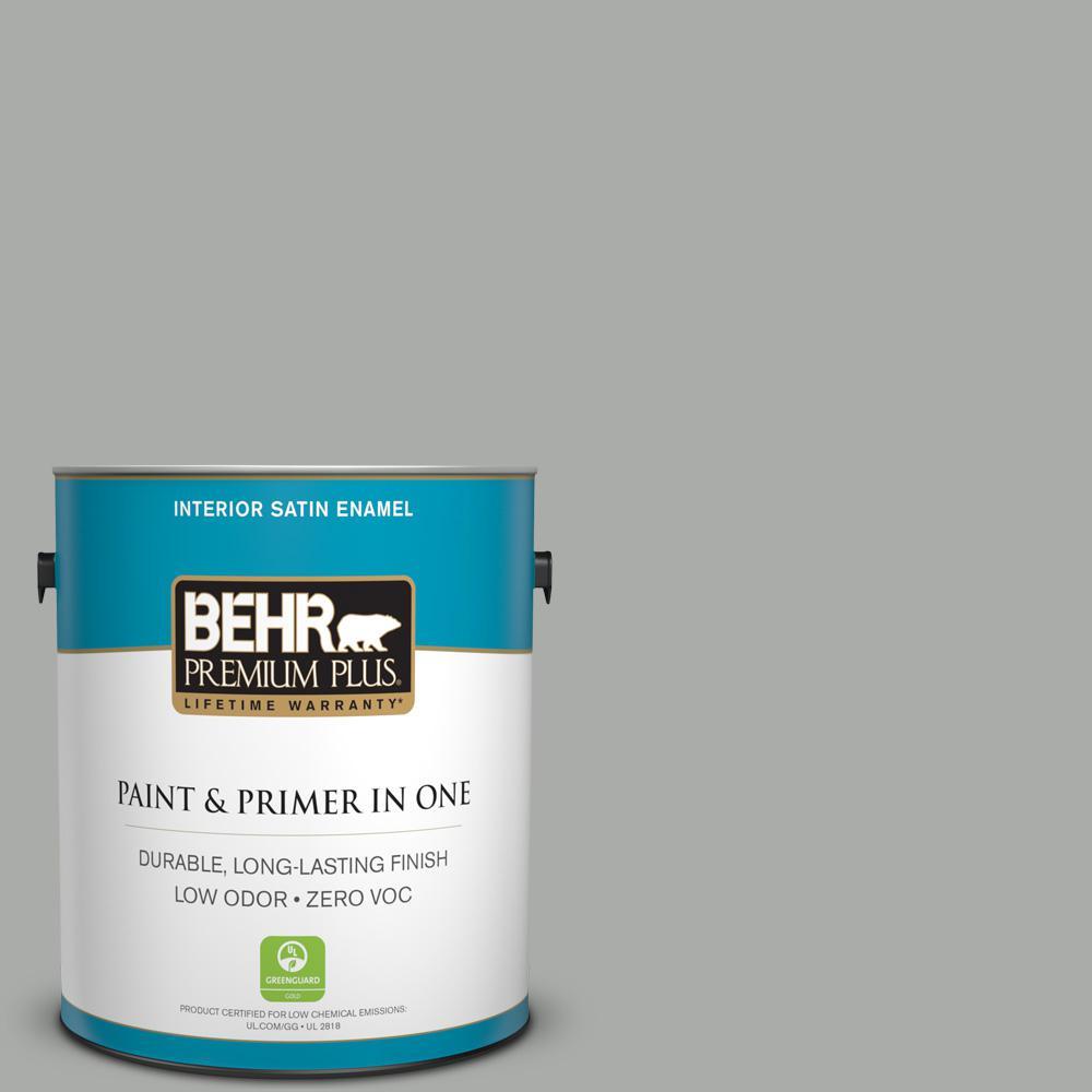 BEHR Premium Plus 1-gal. #PPF-39 Cool Granite Zero VOC Satin Enamel Interior Paint