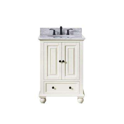 Thompson 25 in. W x 22 in. D x 35 in. H Vanity in French White with Marble Vanity Top in Carrera White with Basin