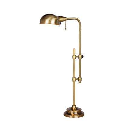 22-3/4 in. - 29 in. Antique Brass Adjustable Metal Table Lamp