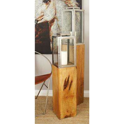36 in. Brown and Tan Stainless Steel and Glass Rectangular Candle Lantern