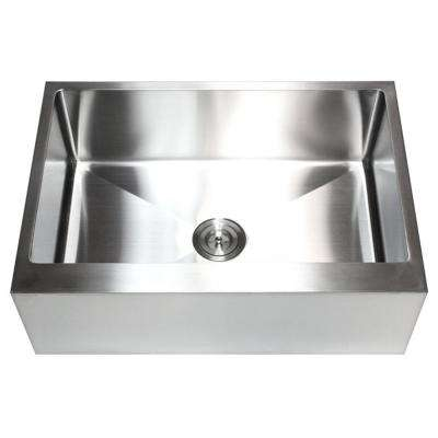 30 in. x 21 in. x 10 in. 16-Gauge Stainless Steel Farmhouse Apron Flat Front Single Bowl Kitchen Sink