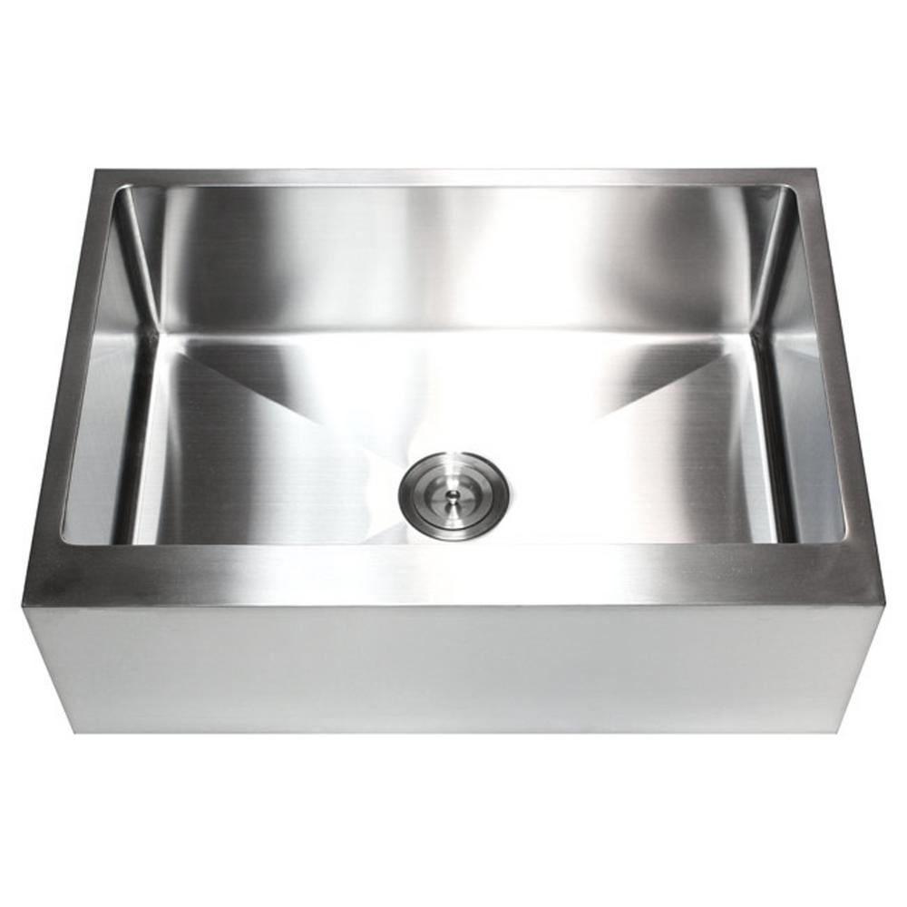 30 in. x 21 in. x 10 in. 16-Gauge Stainless Steel Farmhouse Apron Flat Front Single Bowl Kitchen Sink