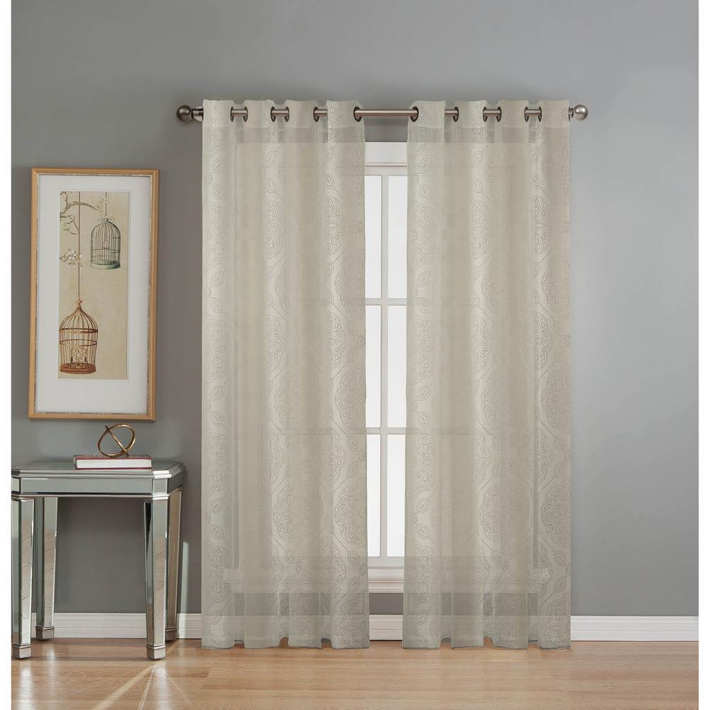 Sheer Diamante Cotton Blend Burnout Sheer 84 in. L Grommet Curtain Panel Pair, Ivory (Set of 2)