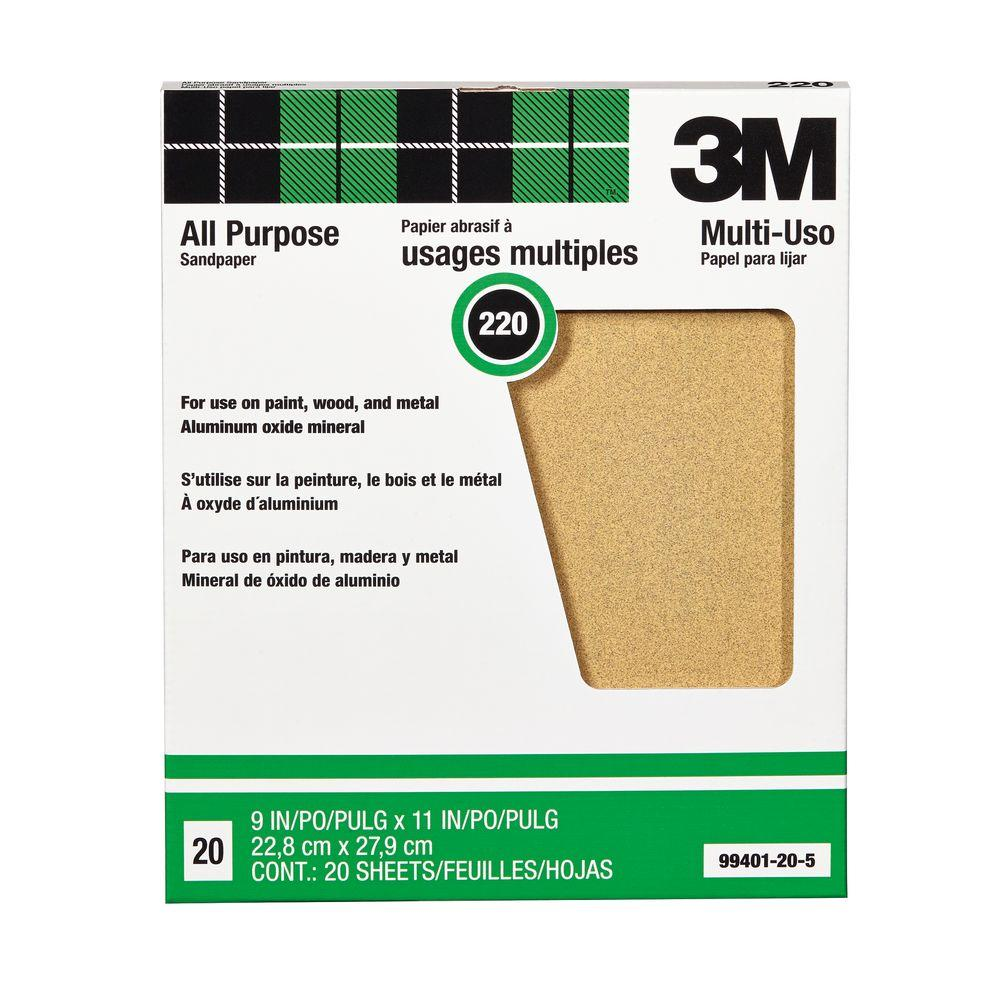 9 in. x 11 in. 220 Grit Aluminum Oxide Sandpaper (20-Pack)
