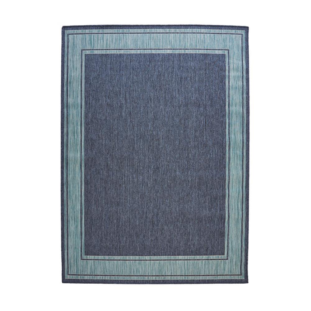 Blue Aqua Border Flat Woven Weave 5 ft. x 7 ft. Indoor/Outdoor Area Rug