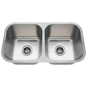 MR Direct Undermount Stainless Steel 32 inch Double Bowl Kitchen Sink by MR Direct
