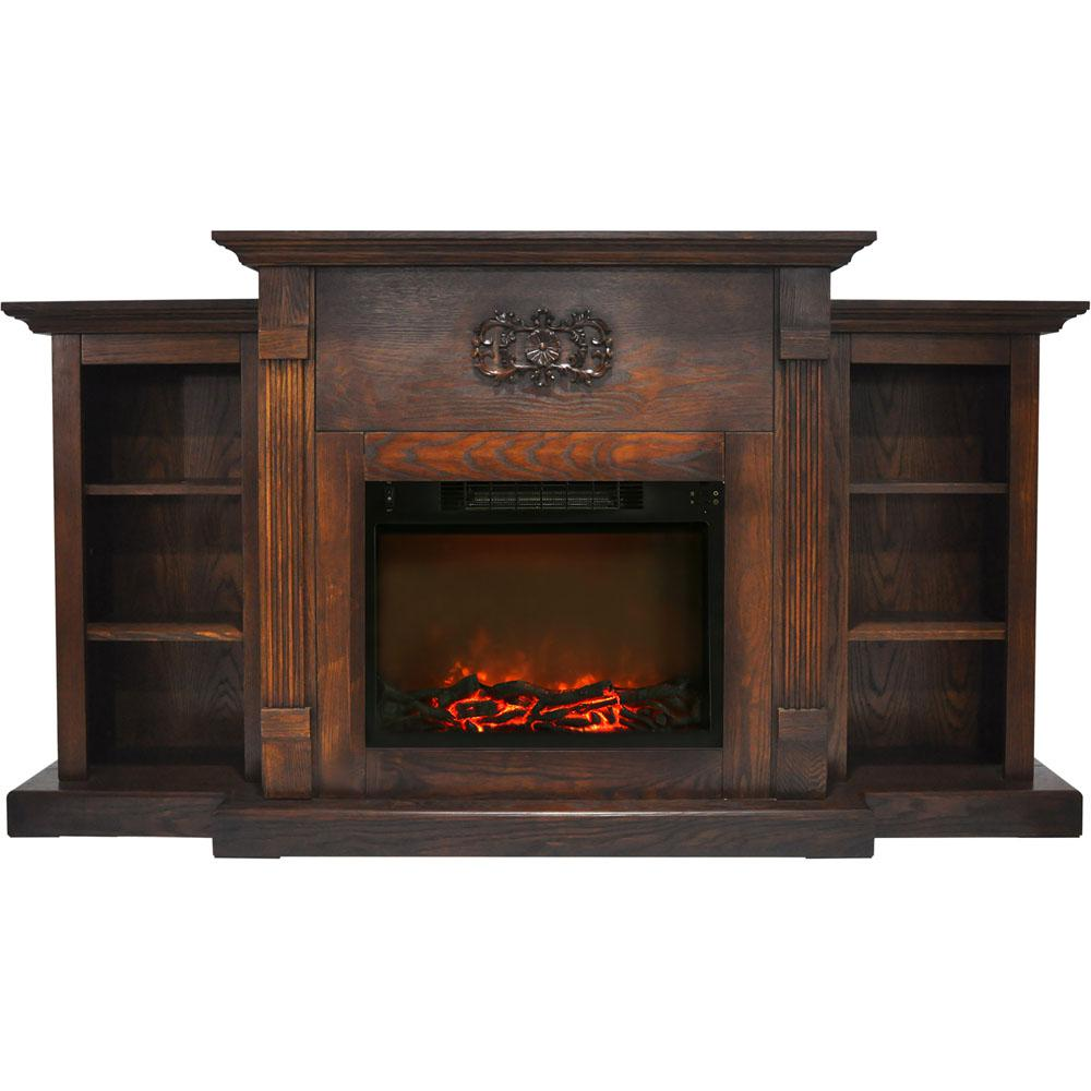 Classic 72 in. Electric Fireplace in Walnut with Built-in Bookshelves and