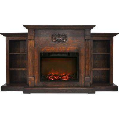 Classic 72 in. Electric Fireplace in Walnut with Built-in Bookshelves and a 1500-Watt Charred Log Insert