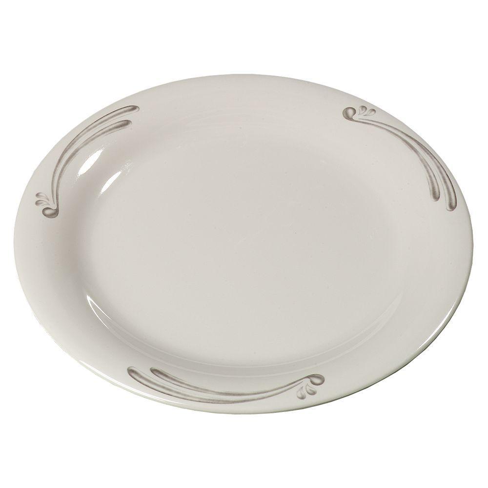 9 in. Diameter Melamine Narrow Rim Dinner Plate in Versailles Pattern on Bone Plate (Case of 24)