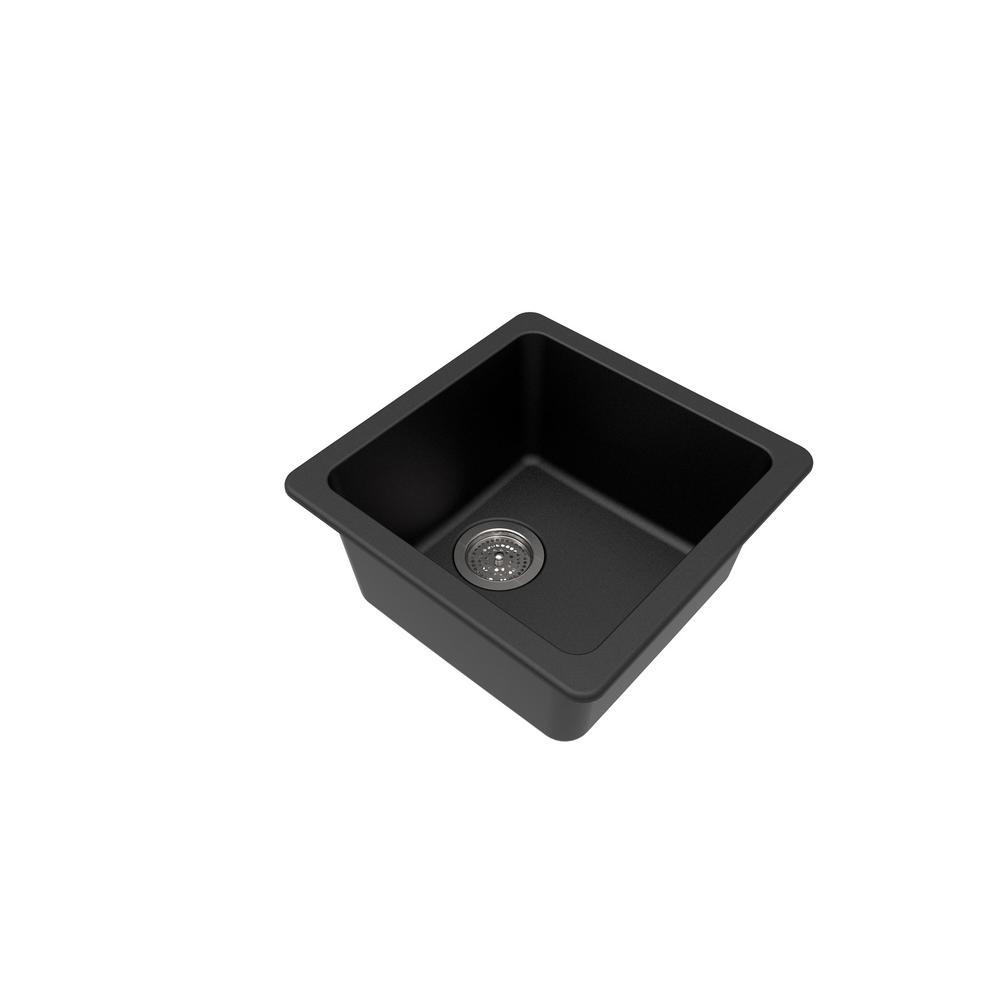 Black Granite Composite 17 in. Dual Mount Bar Sink